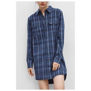 Aritzia Golden by TNA blue plaid tunic shirt